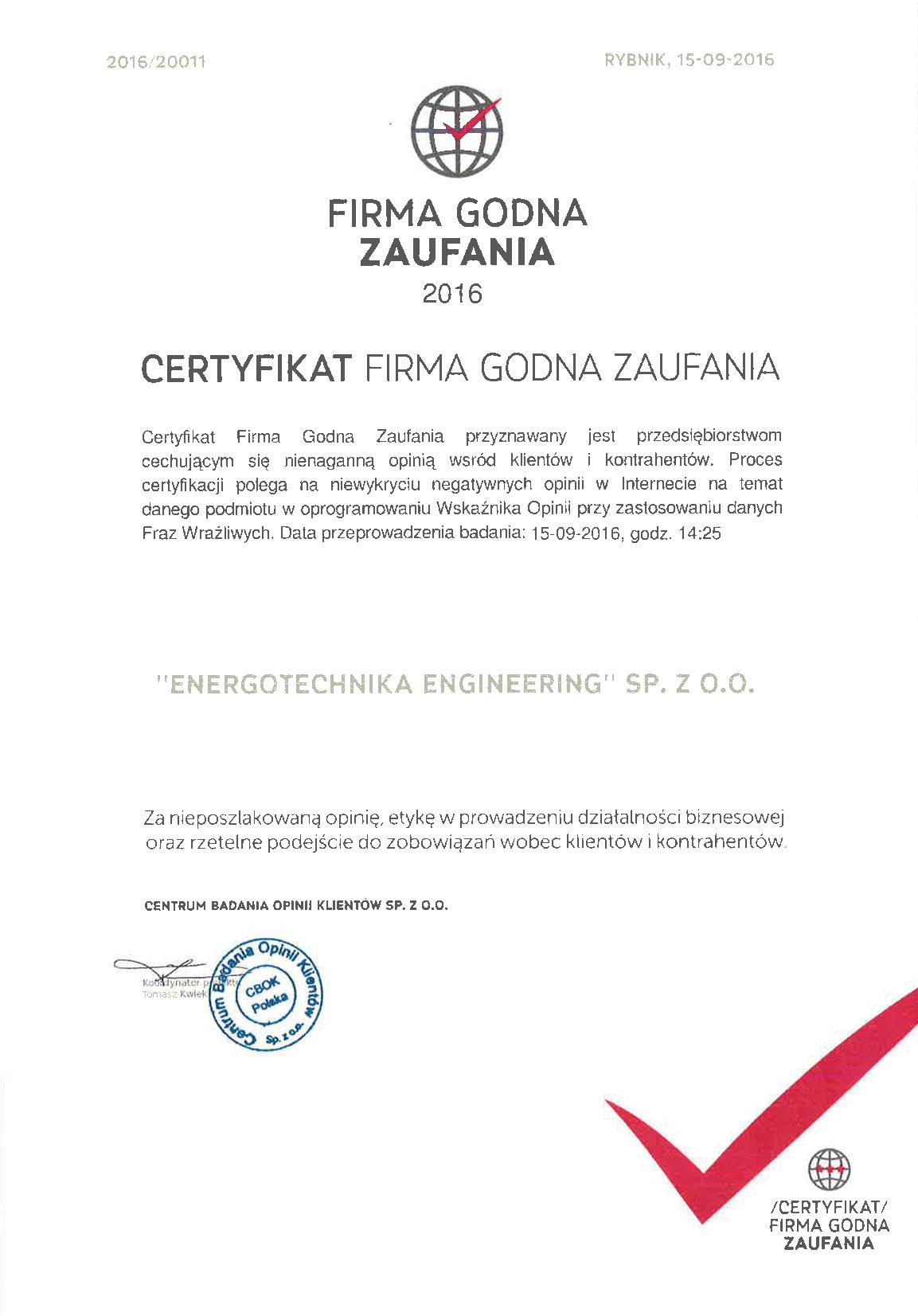 Certyfikat Firma godna zaufania 2016