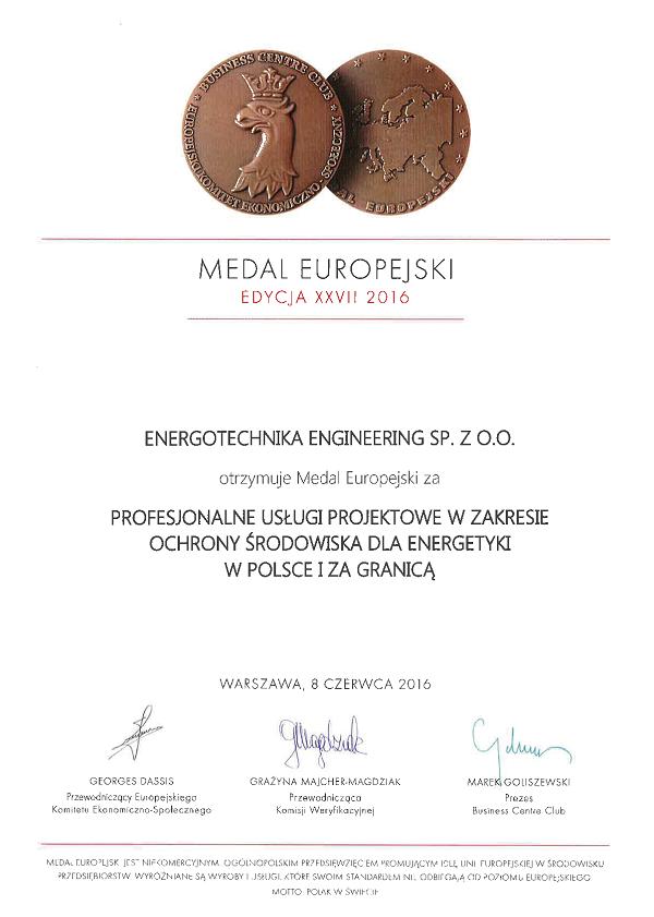 Medal europejski - 2016